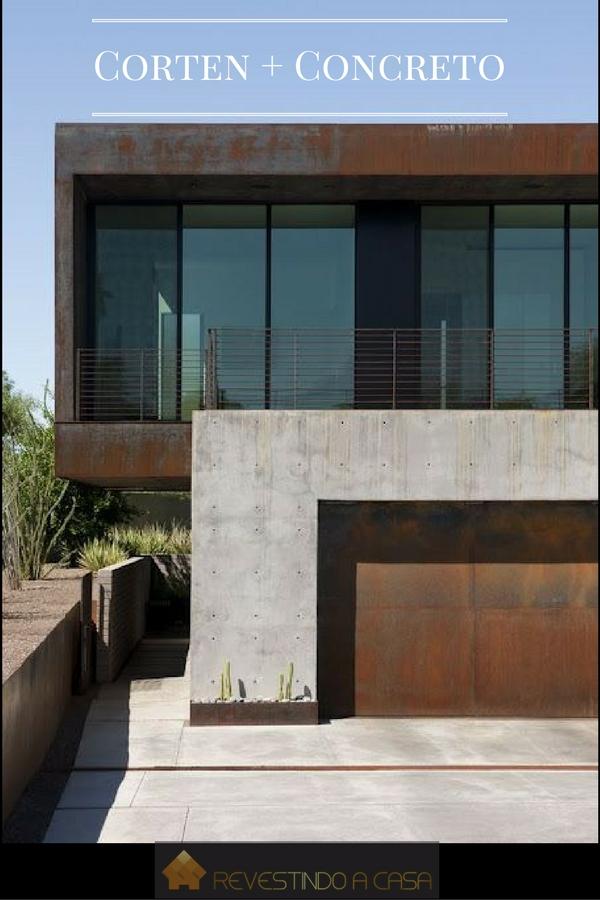 fachada de concreto corten