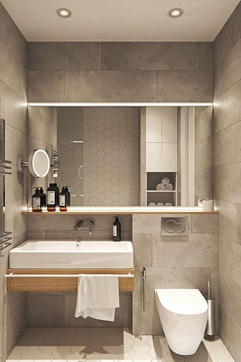 banheiro revestido de pedra e hexagonal branco 39 banheiros pequenos para você se inspirar