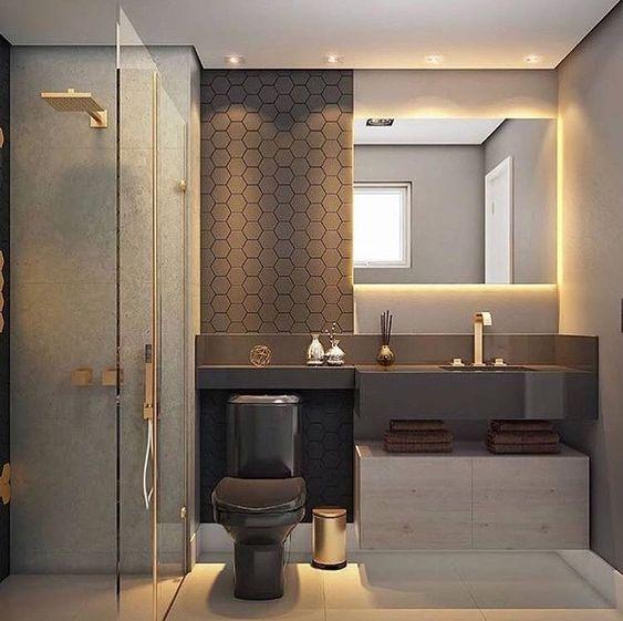 Banheiro com Pastilha hexagonal grafite, com bancada e vaso preto