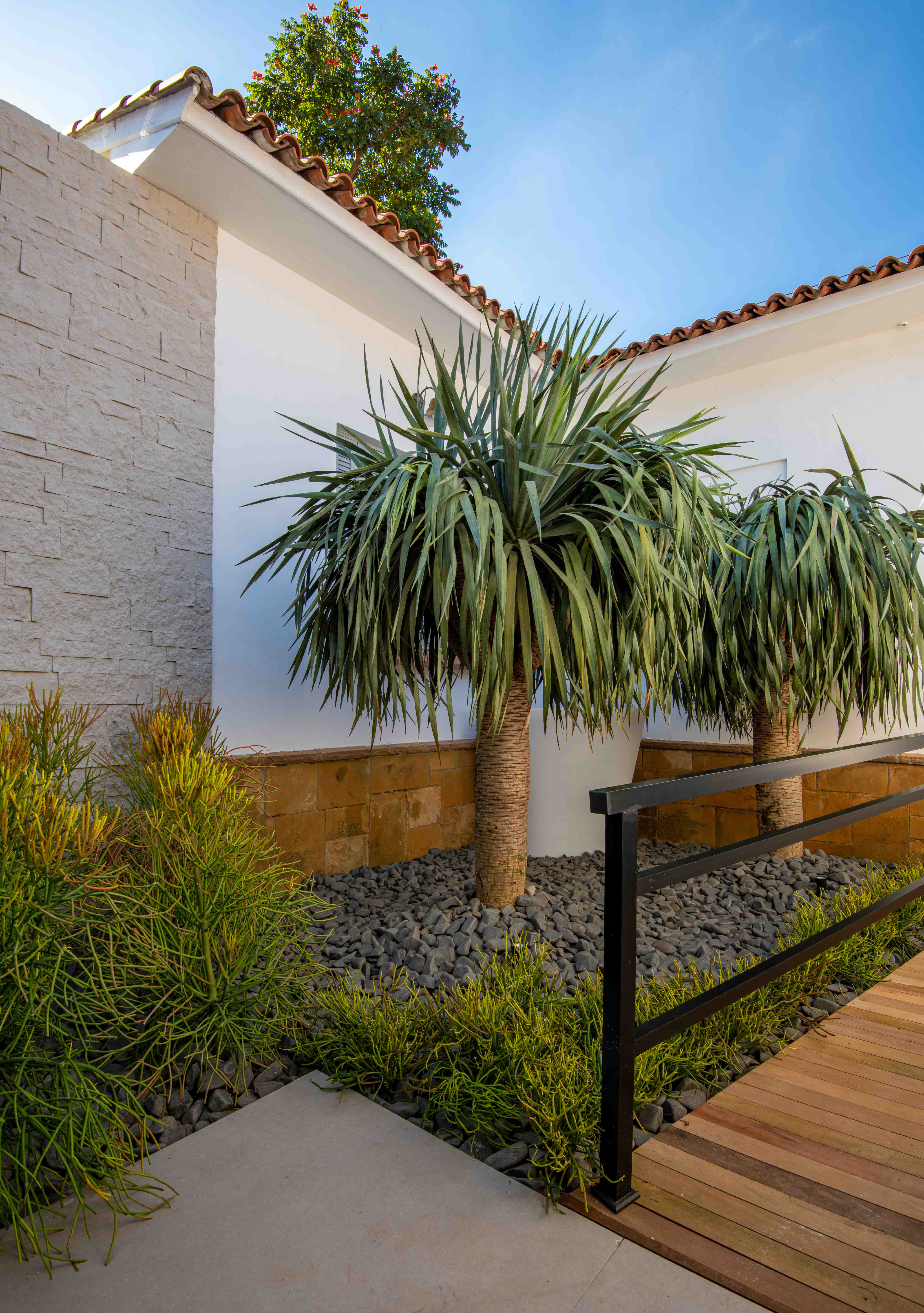Zanardo Paisagismo na CASACOR 2019. Entorno de casa com jardim. Pedras que reproduzem o cimento, plantas e arvores com grande valor ornamental.