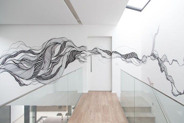 Grafites na decoração, Wall Art em desenhados no corredor