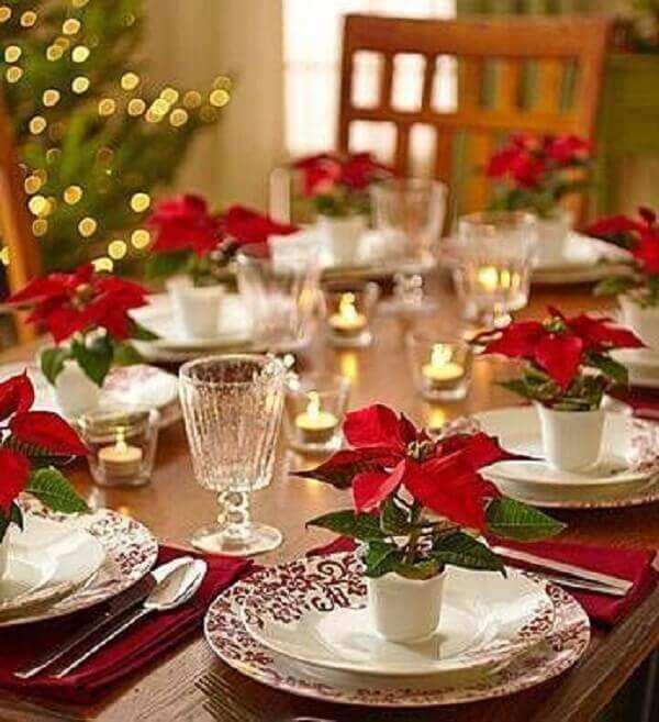 lembrancinha de Natal com vasinho de flores