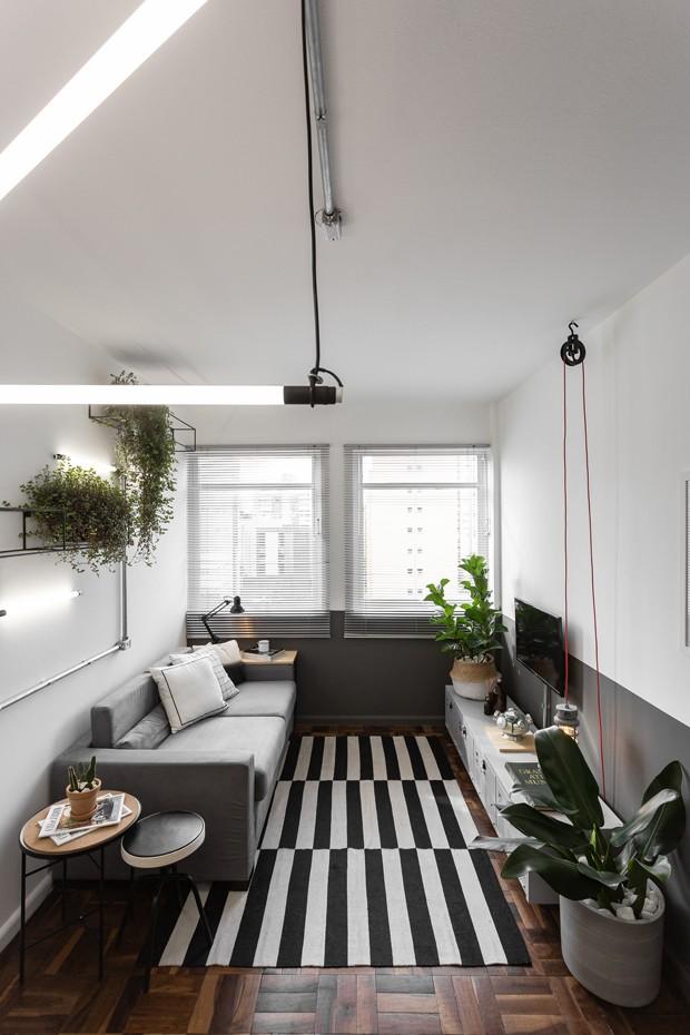 sala pequena em formato e corredor, com sofa cinza, piso de madeira, persiana e plantas