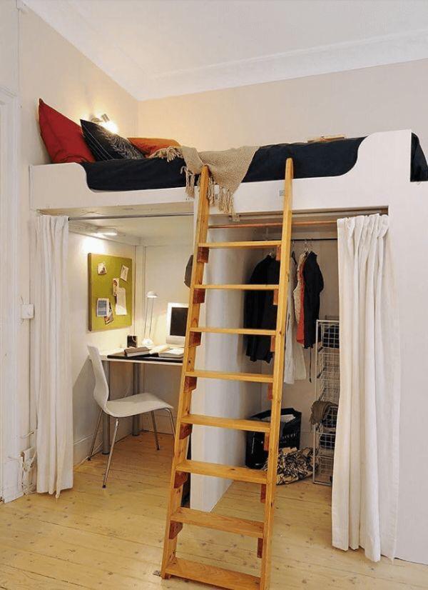 Quarto pequeno com cama suspensa com escrivaninha embaixo