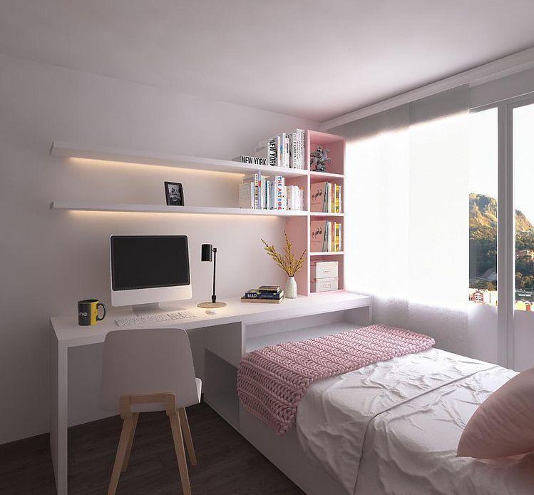 Cama branca com escrivaninha embutida, prateleiras e nichos, cadeira branca e piso de madeira.
