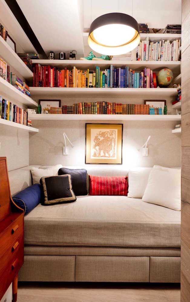 decoração para quartos pequenos para quem ama livros