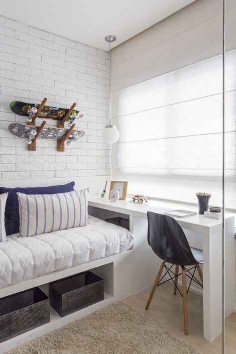 Decoração quartos pequenos com tijolinho branco e cor azul