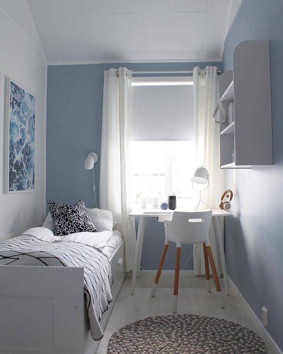 decoração para quartos pequenos minimalista com azul claro