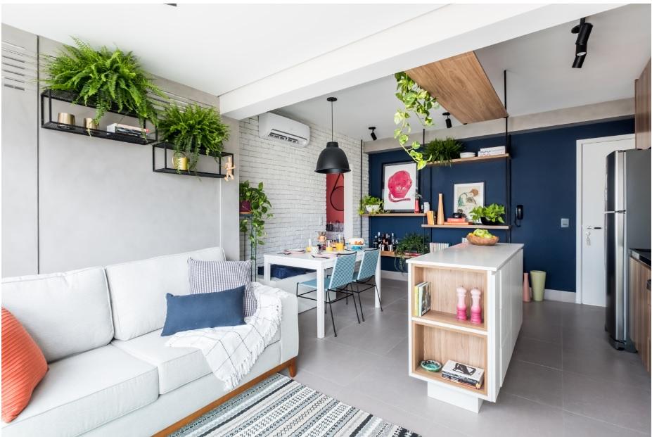 Sala pequena em um ambiente sem divisórias