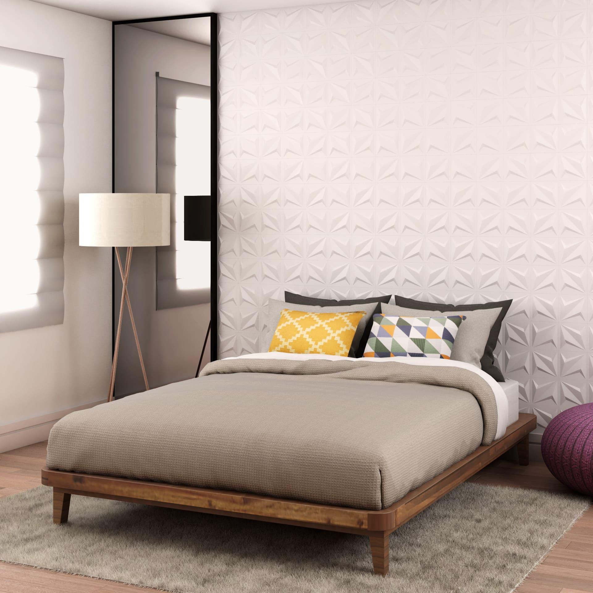 revestimento 3D poliestireno branco feito de plastico em dormitório, quarto