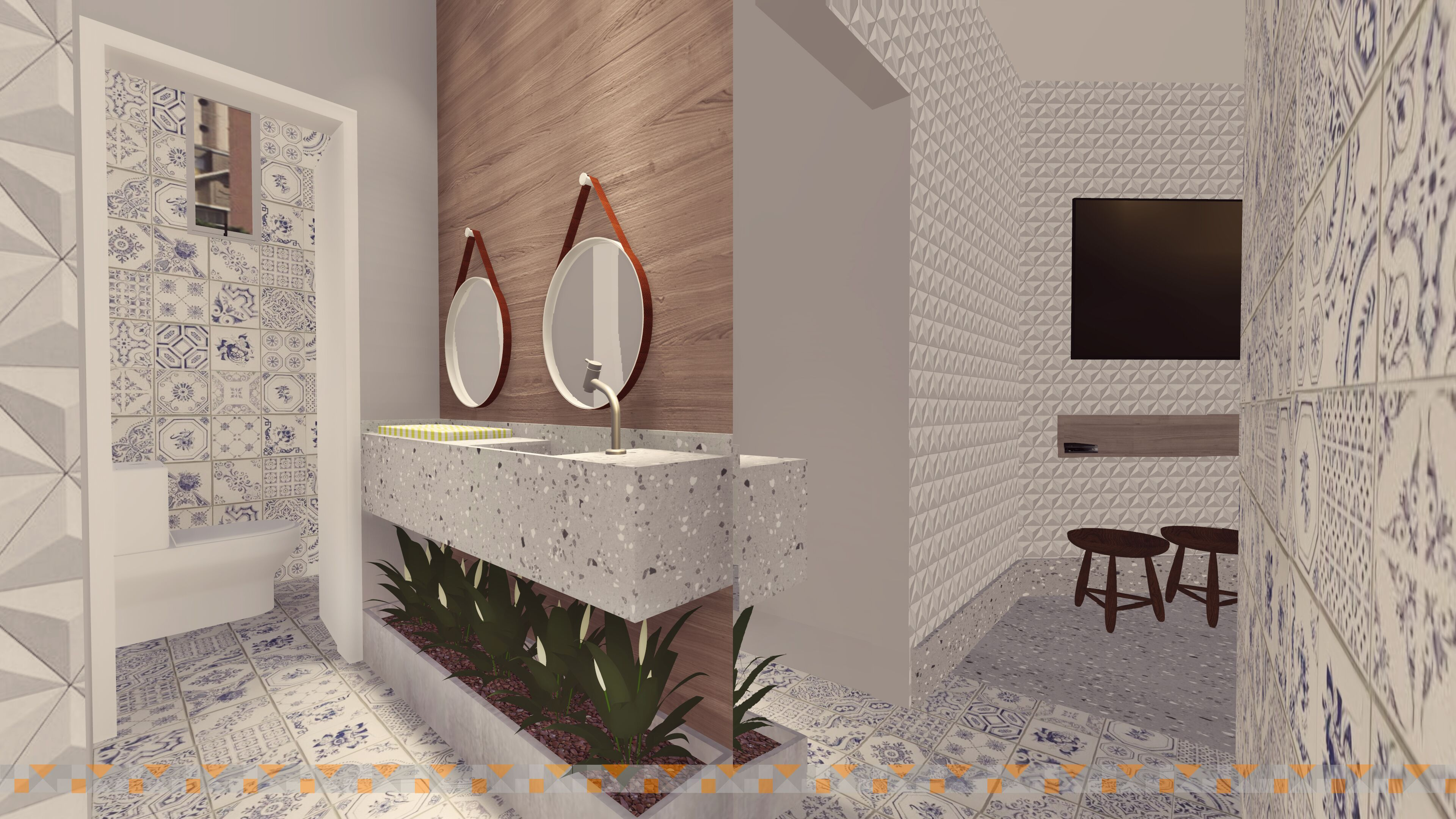 Área comum de um prédio com pia, espelhos, plantas, ladrilho hidráulico, bancos e TV.