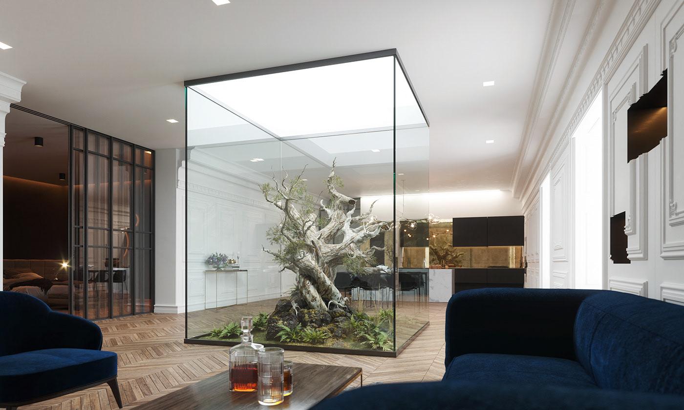 Casa em Viev - Jardim envolto em paredes de vidro, deixando entrar a luz natural e junto com ela a vegetação.