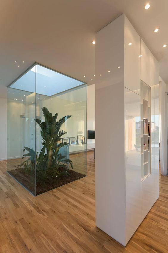 Air Lux Atrium Villa - Jardim envolto em paredes de vidro, deixando entrar a luz natural e junto com ela a vegetação.