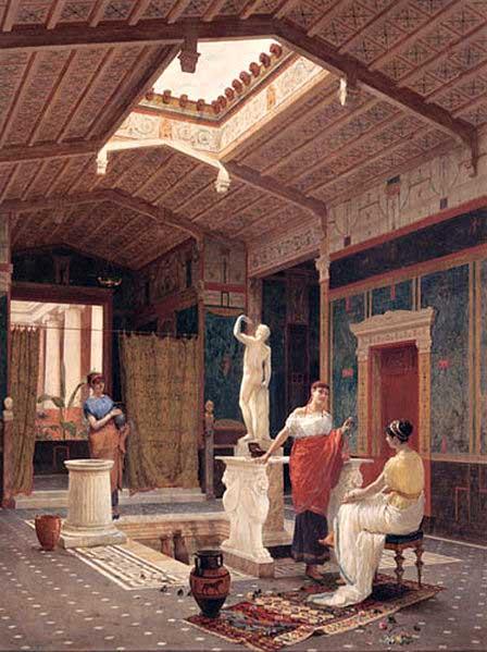 Detalhe de átrio em Pompeia Mulheres em um átrio
