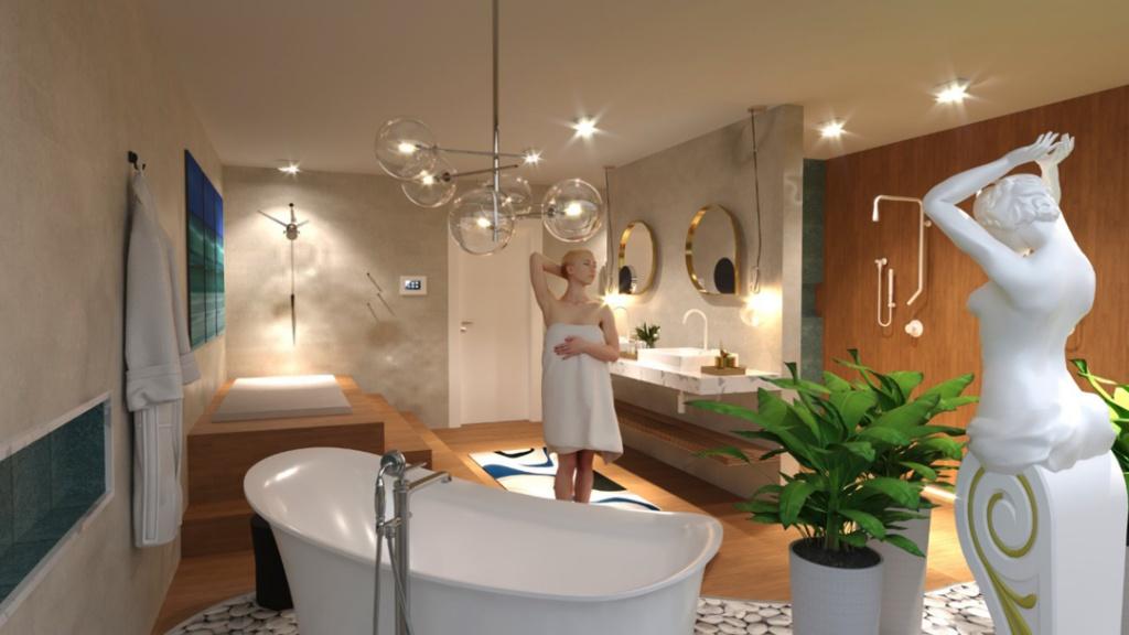 Banheiro com banheira branca, luminária pendente de bolas, estátua  e vasos decorativos e piso de madeira.