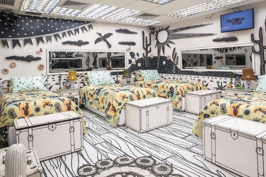 quarto com decoração de literatura de cordel nordestina em preto e branco, com desenhos em 3D na parede e edredons com o tema.