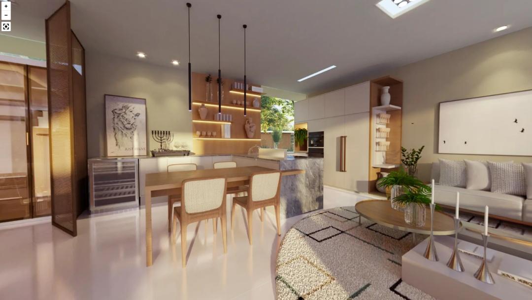 Cozinha com bancada com revestimento de pedras, mesa de madeira com 4 cadeiras, luminárias pendentes, piso porcelanato branco, armários de madeira.
