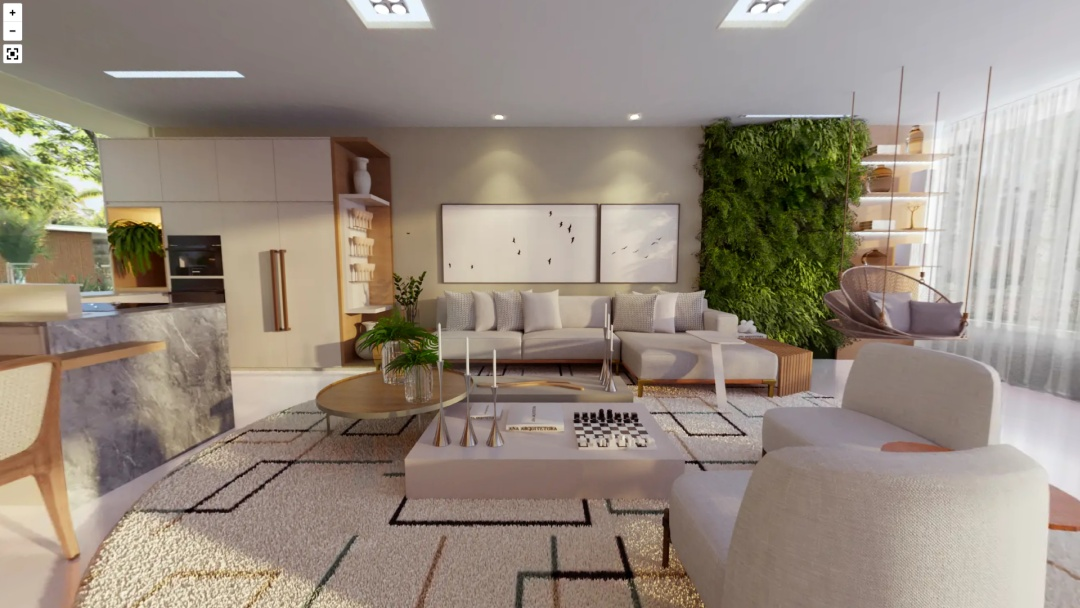 Sala com jardim vertical, sofá e poltronas brancas, mesinha de centro branca, cadeira de balanço e tapete.