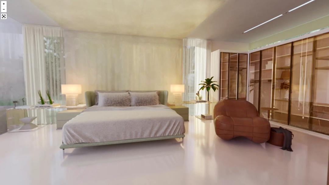 Quarto com revestimento de onix na parede da cabeceira da cama até o teto, piso porcelanato branco, poltrona de madeira e armários de madeira.