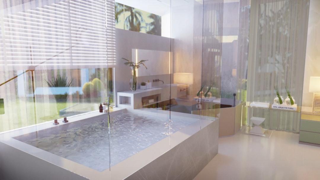 Banheiro com banheiro revestida de porcelanato reproduzindo pedras, paredes de vidro em volta e piso porcelanato branco.
